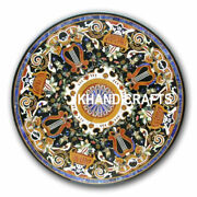36 Round Marble Coffee Dining Table Top Floral Marquetry Inlay Bedroom Decor