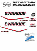 Evinrude E-tec 150hp Outboard Replacement Decals For White Cowl