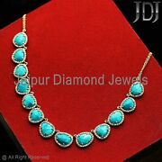 14k Gold Turquoise Necklace Natural White Diamond Gemstone Vintage Jewelry Gifts