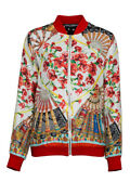 Pre-owned Dolce And Gabbana Oversized Fan Print Bomber Multicolor