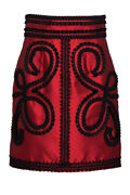 Pre-owned Dolce And Gabbana Ornate Embellished Skirt Black Red Cotton
