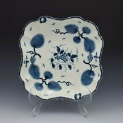 First Period Worcester Rubber Tree Plant Square Dessert Dish C.1775 Antique