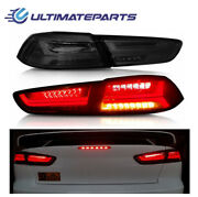 2x Red Smoked Led Tail Lights Rear Lamps For 08-17 Mitsubishi Lancer Evo Updated