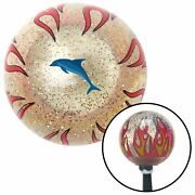 Dolphin Blue Clear Flame Metal Flake Shift Knob With M16 X 1.5 Insert Late Model