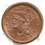 1856 N-11 Pcgs Ms 65 Bn Cac Upright 5 Braided Hair Large Cent Coin 1c