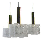 Mid-century Brass And Textured Glass Cube Chandelier Lamp By Doria, Germany 1960s