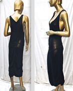 Vintage Alaia 1980and039s Black Viscose Plunging Cleavage Maxi Dress Fr 36-38