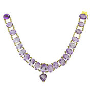 14k Yellow Gold Amethyst Choker Antique Necklace 16 Inch