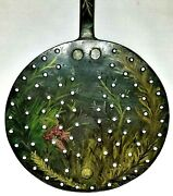 Skimmer, Strainer, Sieve, Kitchen Tool, Wrought Iron, Hand-painted, 19th C, 23l