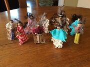 9 Vintage Native American Wood Clothes Pin Dolls Sweet Handmade