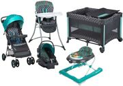 Baby Stroller With Car Seat Activity Walker Playard Highchair Travel System Set