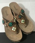 Bucco Wedges, Platform, Sandals Tan-turquoise And Beaded Size 6