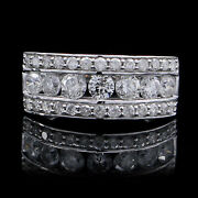 Newly 7.5 Mm 1.20 Ct 14k White Gold Round Real Diamond Band Mens Ring 5999.96
