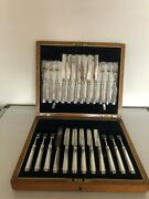 Lovely Mixed Et Of 24 Solid Silver And Mother Of Pearl Fruit Knives And Forks