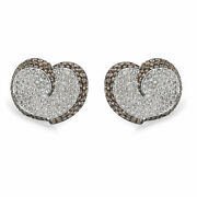 Brown And White Diamond Heart Earrings In 18kt White Gold 7.00 Ctw