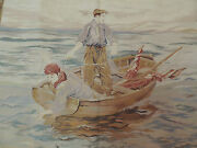 French 3x5 Design Tapestry Boy Fishing Boat Area Rug Wall Hanging Blue Sea