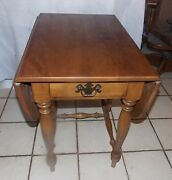 Mid Century Maple Birch Dropleaf End Table / Side Table By Ethan Allen Rpt852