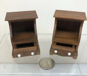 112 Miniature Furniture Artisan Wooden Nightstands By Sir T. Thumb Signed