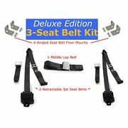 Squarebody Chevy C10 Truck Complete Seat Belt Kit 3pt Black Retractable Airplane