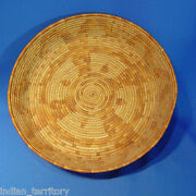 Antique San Diego Kumeyaay California Mission Basketry Tray C1900 12 3/8 D. Nm