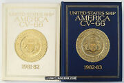 Uss America Cv-66 1981-1982 And 1982-1983 Cruise Book Set With Slip Case
