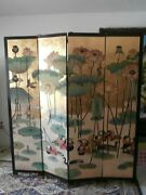 Vintage Asian Oriental Four Panelscreen W.chinese Ducks Room Dividerdouble Sided