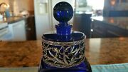 Vintage French Cobalt Blue Glass Round Perfume Bottle With Silver Overla Perfec