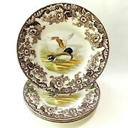 Spode Woodland Mallard Four Dinner Plates 10 5/8 Brown And White Floral Ducks