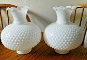 Pair Of Vtg.hobnail Milk Glass Lamp Shades Parlor Oil Lampshades 3 Fitter