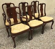 Vintage Set Of 6 Queen Anne English Mahogany Dining Chairs 2 Arms 4 Singles