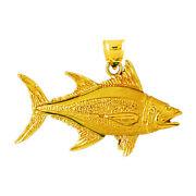 New Real Solid 14k Gold 44mm Tuna Charm Pendant