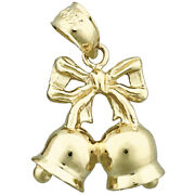 New Real Solid 14k Gold 3d Christmas Bell With Ribbon Charm