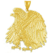 New Real Solid 14k Gold 50mm Proud Eagle Charm Pendant