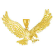 New Real Solid 14k Gold 65mm Great Eagle Charm Pendant