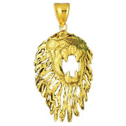 New Real Solid 14k Gold 50mm Cutout Mane Lion Head Charm Pendant