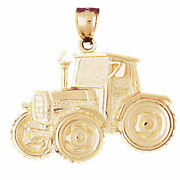 New Real Solid 14k Gold Construction Tractor Charm Pendant