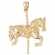 New Real Solid 14k Gold 3d Horse Carousel Charm Pendant