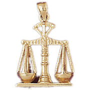 New Real Solid 14k Gold Scales Of Justice Charm Pendant