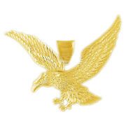 New Real Solid 14k Gold 55mm Bald Eagle Charm Pendant