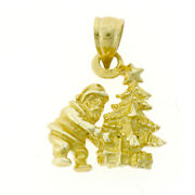 New Real Solid 14k Gold 3d Santa Claus With Christmas Toys Charm