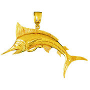 New Real Solid 14k Gold 3-d Marlin Charm Pendant