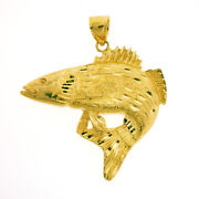 New Real Solid 14k Gold 3d Fish Charm Pendant