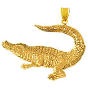 New Real Solid 14k Gold 44mm Wide Alligator Charm Pendant