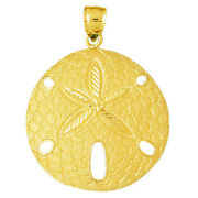 New Real Solid 14k Gold Sand Dollar Charm Pendant