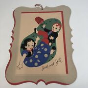 Charming Vintage Jack And Jill Die-cut Poster With Hanger Cord