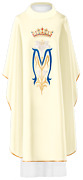 White Embroidered Priest Gothic Chasuble Vestment And Stole With Marian Design