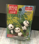 3x Cute Panda Erasers Japan Quality White Toy Safe Nice Funny Clean Erazers Gift