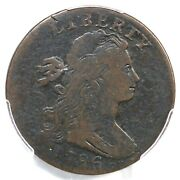 1796 S-94 R-5+ Pcgs Vf Details Draped Bust Large Cent Coin 1c