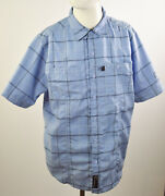 Ducks Unlimited Canada Menand039s Button Up Collared Shirt Blue Check Plaids Sz M