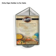 Acrylic Clear 3 Sided Sign Holder 5.5w X 8.5h Inches With Black Revolving Base
